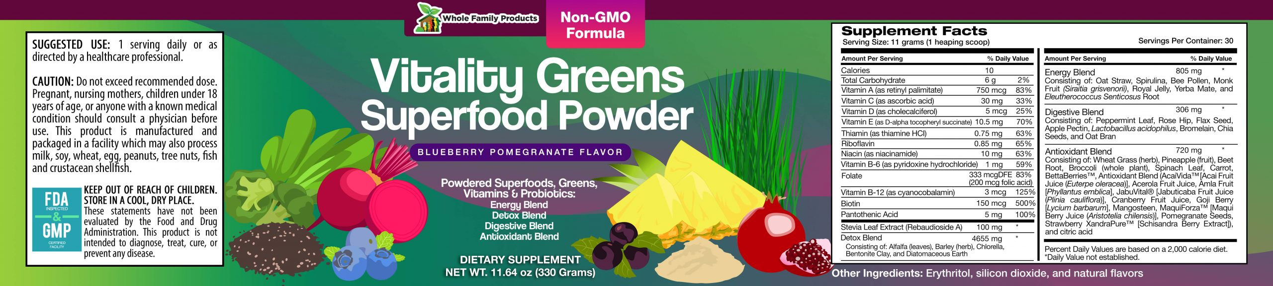 Vitality Greens Superfood Powder WFP Product Label