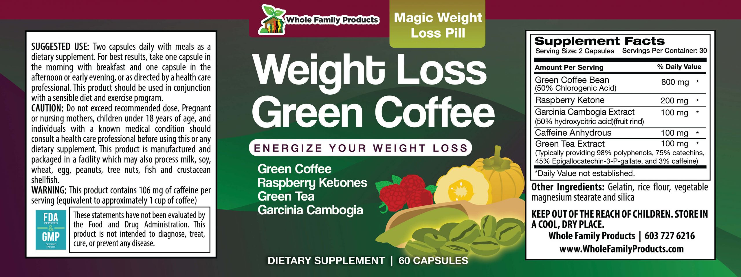 Weight Loss Green Coffee 60 Capsules WFP Product Label