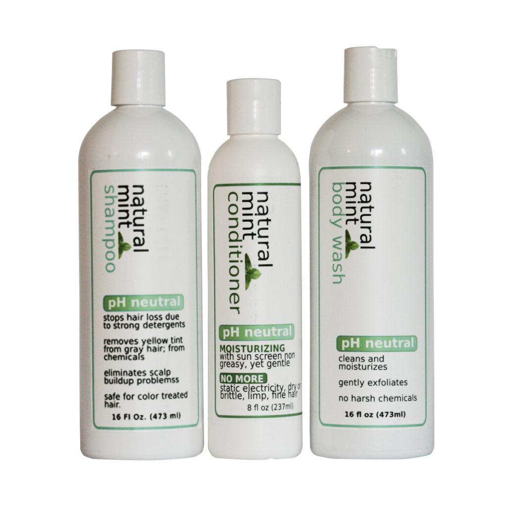 natural mint shampoo conditioner body wash